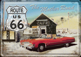 metalen ansichtkaart R66 The mother road 10-14 cm