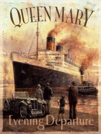 metalen reclamebord queen mary stoomboot 15x21 cm