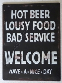 metalen old style bord hot beer - welcome 30-40