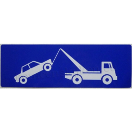 blauwe sticker symbool wegsleepregeling auto / sleepwagen 26,5 cm