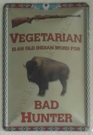 blikken wandbord vegetarian, bad hunter 20x30 cm