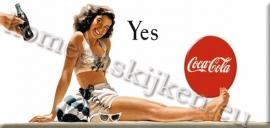 koelkast magneet cola zittende dame