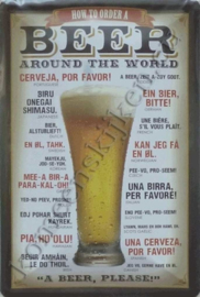 metalen reclamebord Beer around the world 20x30 cm