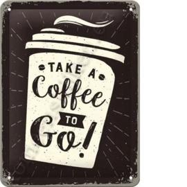 metalen wandplaat take a coffee to go! 15x20 cm