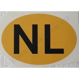 gele ovale NL sticker 12,5 cm bij 8,5 cm