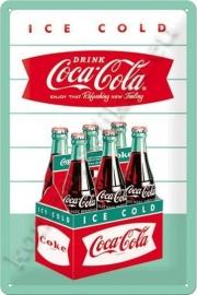 metalen wandbord coca cola sixpack 20-30 cm