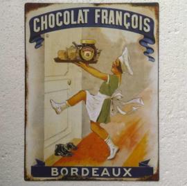 metalen wandbord Chocolat Francois 25x33 cm