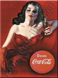 metalen ansichtkaart Coca Cola dame rood 15-21 cm