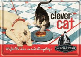 metalen ansichtkaart clever cat / kat 10-14 cm