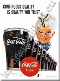 metalen ansichtkaart Coca Cola jongen met glas 15-21 cm