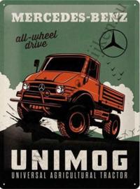 metalen wandplaat Mercecedes-Benz unimog 30x40 cm