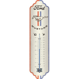 metalen thermometer Ford Mustang Horse & Stripes