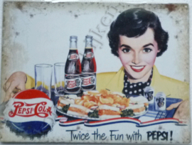 metalen wandplaat twice the fun with pepsi cola 30-40 cm