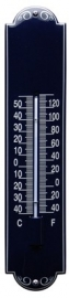 emaille thermometer deco donker blauw