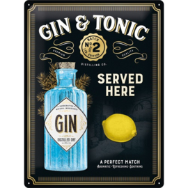 metalen wandbord Gin and tonic metalic 30x40 cm