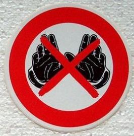 sticker verboden om handschoenen te dragen 10 cm