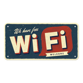 blikken deurbordje We have free Wi-Fi welcome 10x20 cm