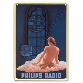 metalen ansichtkaart philips dame 10-14 cm
