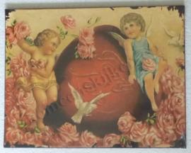 wandbord engeltjes met rozen 35-27 cm