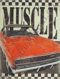 blikken reclame plaat muscle car 30-40 cm
