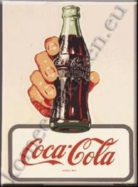 metalen ansichtkaart Coca Cola hand met fles 15-21 cm