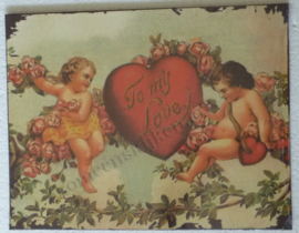 wandbord engeltjes to my love 35-27 cm
