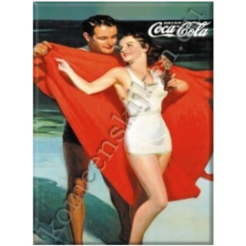 koelkastmagneet Coca Cola aan het strand