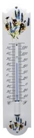 emaille thermometer bloemen blauw / geel