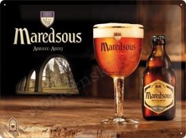 metalen wandbord maredsous bier 30-40 cm