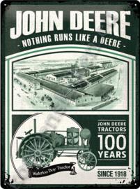 blikken muurbord john deere tractors 100 years 30×40 cm