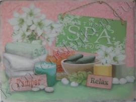 metalen wandplaat spa, pamper, relax 30-40 cm