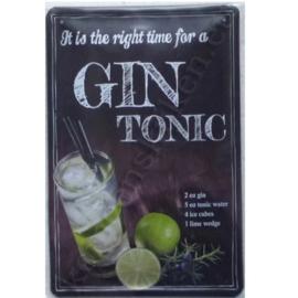 metalen reclamebord gin tonic 20x30 cm