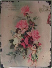 nostalgische wandplaat 2 engeltjes met rozentak