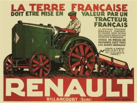 metalen wandplaat Renault tracteur 30x40 cm