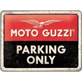 Metalen wandbord Moto Guzzi Parking Only 15 x 20 cm