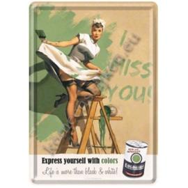 metalen ansichtkaart I miss you verf 10-14 cm