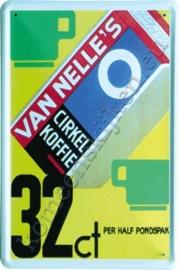metalen ansichtkaart van nelle's cirkel koffie 10-14 cm