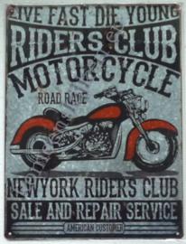 wandbord metaal riders club motorcycle 30-40 cm