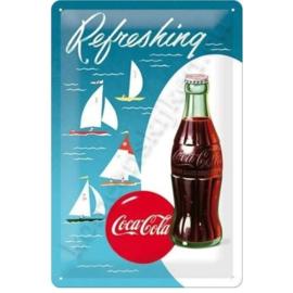 metalen wandbord coca cola zeilboot 20-30 CM