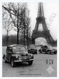 metalen reclamebord Renault 4CV eiffeltoren 20-30 cm