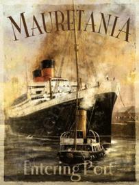 metalen reclamebord Maurentania stoomboot 15-20 cm