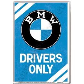 Metalen ansichtkaart BMW drivers only 10-14 cm