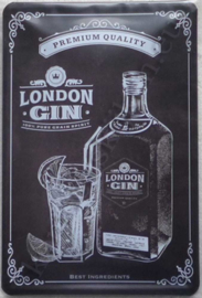 metalen wandbord London gin 20x30 cm