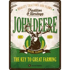 metalen reclamebord john deere tradition & heritage 30x40 cm
