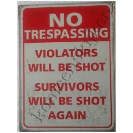 metalen wandbord no trespassing 30-40 cm