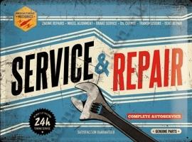 metalen wandbord service en repair 30-40 cm