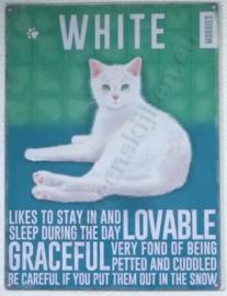 metalen wandplaat kat white 30-40 cm