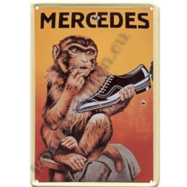metalen ansichtkaart mercedes schoenen 10-14 cm