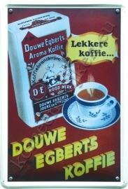 metalen ansichtkaart Douwe egberts koffie 10-14 cm