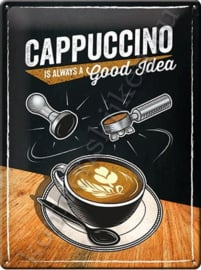 metalen wandbord cappuccino, alway's a good idea 30-40 cm